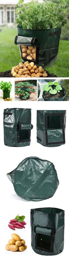 Free shipping :) US$6.99 Potato Grow Planter PE Container Bag Pouch Root Plant Growing Pot Side Window Garden