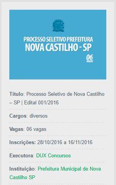 Visando preencher vagas de professores a prefeitura de Nova Castilho abre um processo seletivo.