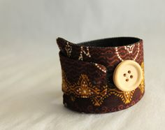Fabric cuff bracelet with brown Batik fabric