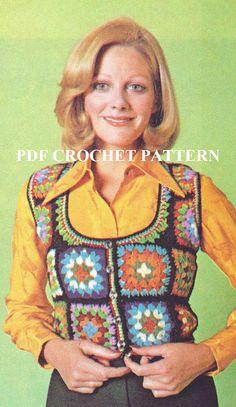 Vintage Swiss Granny Square Vest Crochet PDF by KatnaboxCrochet