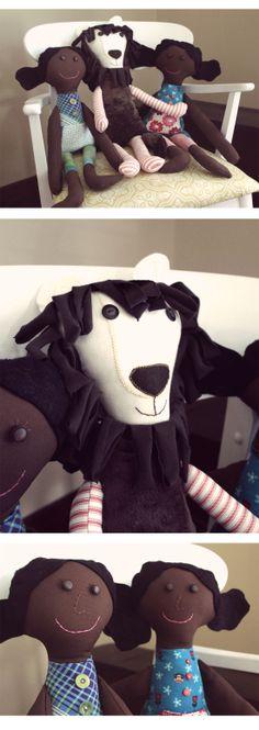 DIY rag dolls and lion; adoption