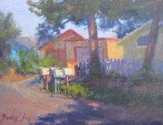 """Colorful Houses, 9x12"""" plein air oil landscape painting....one of my favorite paintings by Becky Joy!"""