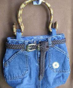 repurposed denim | Repurposed Upcycle Denim Blue Jean Patchwork Lined Purse Handbag