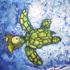 This print is titled Little Dave.It features a lovable sea turtle. Little Dave is no regular turtle, he's got an attitude and he's not afraid to use it. Fish Eat Fish, Small Turtles, Attitude, Whimsical, Creative, Prints, Artist, Pattern, Paintings