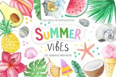 Watercolor Summer Vibes Set by LarysaZabrotskaya on @creativemarket