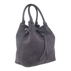 Audrey Suede Leather Travel Bag | Grey by Marla Fiji on Brands Exclusive