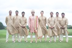 Groom & Groomsmen in Traditional Indian Outfits | Photography: Haring Photography. Read More:  http://www.insideweddings.com/weddings/bright-and-festive-hindu-celebration-with-outdoor-ceremony-in-miami/855/