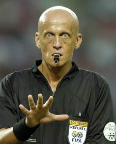 Pierluigi Collina -  Italian former football referee. This guy is so INTENSE!  The Best Reff of all time.