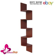 Floating Shelves Corner Bookshelf 5 Tier Large Wall Mount Display Cases Hangers #EWEISHomeWares