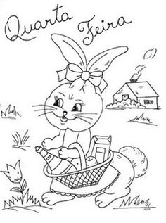 desenho de coelhinha indo as compras para pintar