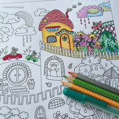Folk Art Colouring And On Pinterest Fancy Butterfly Coloring Pages Whimsical Animals