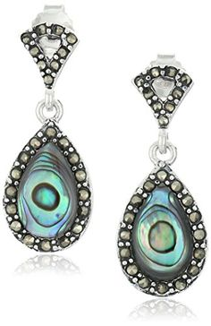 Sterling Silver Marcasite Abalone Post Teardrop Earrings. Imported.