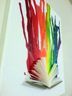 Original Melted Crayon Art 3D with Book by SprechersStudio on Etsy