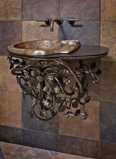 Home & Garden - eclectic - bathroom vanities and sink consoles - phoenix - Kevin Caron Studios Eclectic Bathroom, Small Bathroom, Bathroom Wall, Bathroom Design Luxury, Home Interior Design, Washbasin Design, Wrought Iron Decor, Modern Sink, Iron Furniture