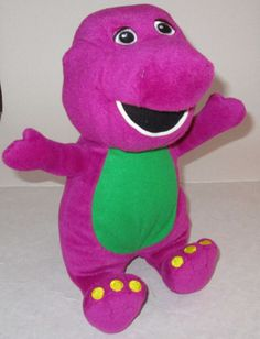 "Universal Studios Barney the Dinosaur 12"" Plush Stuffed Toy Sewn Eyes No Tag #Disney"