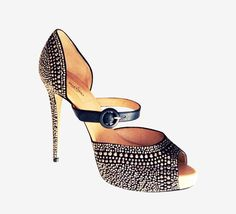 Valentino Black With Pewter Crystals Pump
