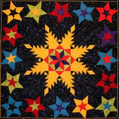 'Cosmic Colors' by Kim Buzolich.  Challenge quilt, 1st place ribbon, Valley Quilt Guild
