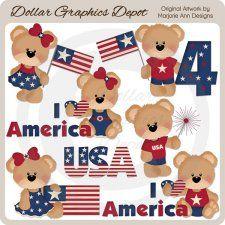July 4th Bears - Clip Art