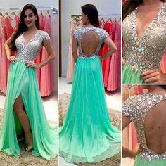 Green prom Dress,Side slit Prom Dress,V neck prom dress,Charming prom dress,Long prom dress,BD172