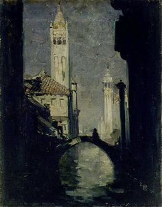 Sir Arthur Ernest Streeton (australian,1867 – 1943) Moonlight, Venice 1908 Oil on canvas