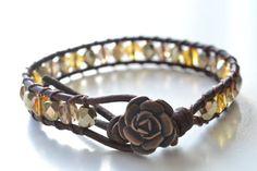 "Wildflower single wrap leather bracelet ""Gold"", beachy, shabby chic, bohemian surfer girl bracelet"