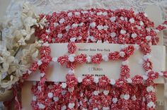 1y Vintage French Red & White Gingham by VintageFrenchRibbons