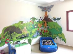 Wallpainting in boys room, 5 year. He fancies Jurassic Parc! The room is big and white. And the idea was to bring an atmosphere of adventure into the room. Wall Paintings, Fancy, Adventure, This Or That Questions, Wallpaper, Big, Room, Handmade, Ideas