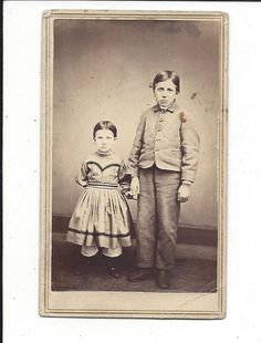 CDV Photo Adorable Brother and Sister Holding Hands Greenfield MA Tax Stamp | eBay