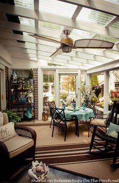 An Ordinary Patio Becomes A Beautiful Three-Season Porch pergola techo transparente Back Patio, Patio Roof, Backyard Patio, Pergola Patio, Outdoor Rooms, Outdoor Living, Outdoor Decor, Outdoor Patios, Outdoor Kitchens