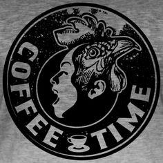 Tonony.com | LATTE KAFFEE PAUSE GESCHENKIDEE T-SHIRT     - Männer T-Shirt mit Farbverlauf  -  Aber auch andere coole Prints für Damen, Herren, Kinder und Babys auf zahlreichen verschiedenen Produkten.     T-SHIRT > SCHREIENDER MENSCHEN MIT EINEM HAHNENKOPF, MIT DEM TEXT COFFEE TIME. ES GIBT KAFFEE UND KUCHEN, DANN KANN DER KAFFEEKLATSCH MIT DEM PERFEKTEN T-SHIRT BEGINNEN. SCHWARZ T-SHIRT