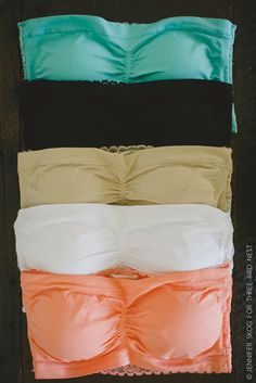Strapless bandeau bra with ruched middle and stretch lace back. This bandeau bra is a wardrobe must! We love the way the lace peeks out under tanks and shirts. So pretty and feminine. 90% Nylon, 10% S