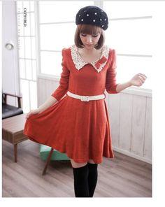 Women Sweet Cute Orange Lace Crochet Peter Pan Collar Bow Knit Dress with Belt   eBay