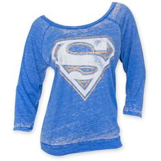 Women's Superman Burnout Blue Shirt ($37) ❤ liked on Polyvore featuring tops, blue, print shirts, pattern tops, blue top, sleeve shirt and blue short sleeve shirt