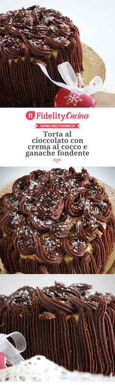 Torta al cioccolato con crema al cocco e ganache fondente Chocolate Recipes, Cooking Time, Cheesecake, Cupcake, Sweets, Dishes, Food, Chivalry, Nutella