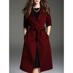 SheIn(sheinside) Burgundy Lapel Tie-Waist Pockets Coat (€64) ❤ liked on Polyvore featuring outerwear, coats, burgundy, lapel coat, red coats, long sleeve coat, leather-sleeve coats and burgundy coat