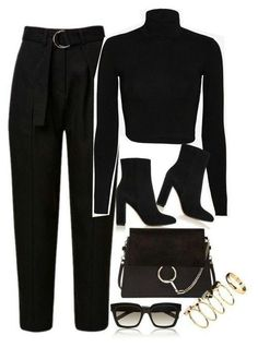 All Black Outfits All Black Outfits How to style an all black outfit<br> Got a high waisted pant and wondering how to style the grandma trend? here is a quick and easy way to wear your high-rise trousers or jeans this summer Komplette Outfits, Polyvore Outfits, Classy Outfits, Stylish Outfits, Fall Outfits, Fashion Outfits, Layering Outfits, Fashion Clothes, Layering Clothes