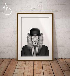 LION PRINT, Lion Printables, Printable Lion, Dapper Lion, Lion in Suit, Printable Lion, Office Lion Art Print, Lion Print, Lion Printable by AmberstoneDesign on Etsy Stock Photo Websites, Black And White Printer, Lion Drawing, Lion Print, Nursery Letters, Photo Store, Amber Stone, Typography Art, Minimalist Art