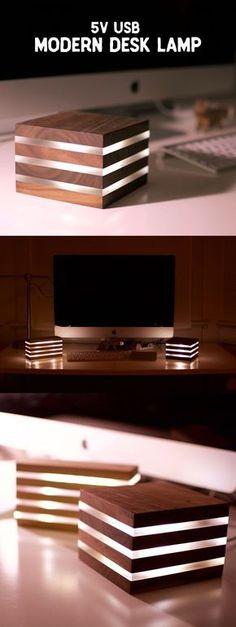 Modern LED Desk Lamp. Powered by 5V USB.. Diy Woodworking, Woodworking Furniture, Led Furniture, Diy Furniture Projects, Woodworking Projects Plans, Furniture Plans, Diy Wood Projects, Woodworking Table Saw, Furniture Online