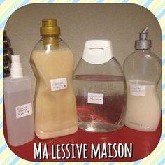 Faire sa lessive maison, avec du savon de marseille, du bicarbonate de soude et de l'huile essentielle. (et plein d'autres trucs sur ce blog pour faire soi-même des produits pour la maison/le corps/le visage!!)