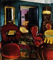 A muvész otthona önarcképpel a tükörben The home of the artist with self-portrait in the mirror by Sándor Ziffer