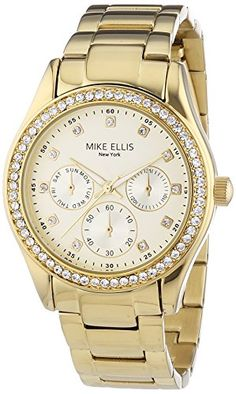 Mike Ellis New York Damen-Armbanduhr Analog Quarz Edelstahl SL4-60213A - http://uhr.haus/mike-ellis-new-york/mike-ellis-new-york-damen-armbanduhr-analog-quarz