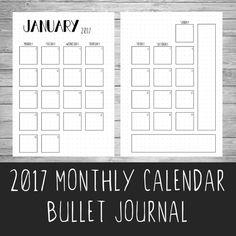 2017 Bullet Journal Monthly Calendar