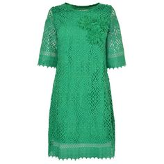 DARLING Veretie Lace Tunic Dress ($100) ❤ liked on Polyvore featuring dresses, oversized dress, lace cut-out dresses, short-sleeve lace dresses, green lace dress and loose fitting dresses