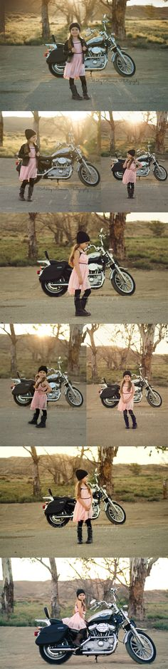 Ashley Boomer Photography | Outdoor toddler photography | Girl with motorcycle | Cool kid | Pink dress | Leather jacket | Slouch beanie | Biker Baby