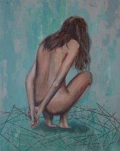 "Saatchi Art Artist Nadia Rapti; Painting, ""Guarding the nest"" #art"