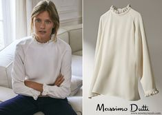 Massimo Dutti shirt with frilled collar and sleeves New Christmas Songs, Royal Christmas, Queen Maxima, Shirt Sleeves, Female, Long Sleeve, How To Wear, Shirts, Royals