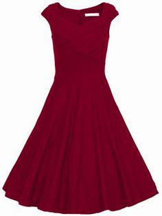 vestido cuello de forma sin manga corazón-(Sheinside)
