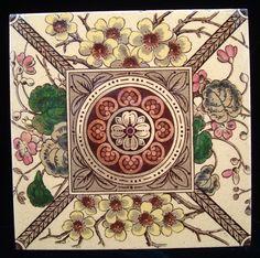 Superb Brown Transferware Tile ~ Flower Burst 1885