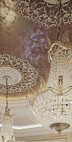 Chandelier Bedroom, Luxury Bedding Collections, Damask, Color Schemes, Swarovski Crystals, Champagne, Velvet, Ceiling Lights, Lighting