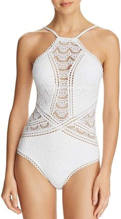 33df3532297 BECCA® by Rebecca Virtue Colorplay High Neck Lace One Piece Swimsuit at  Bloomingdale's #CommissionLink